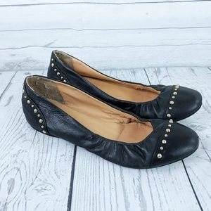J. Crew Italy Black & Gold Studded Cece Flats 7.5